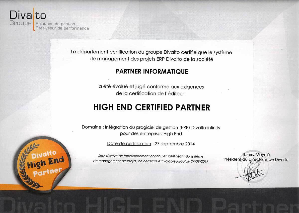 Notre SSII est certifiée Divalto High End Partner